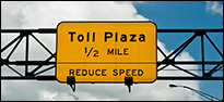 Picture of a toll plaza sign.